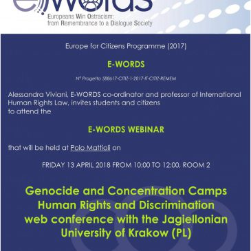 Europeans Win Ostracism: from Remembrance to a Dialogue Society, on 13th April